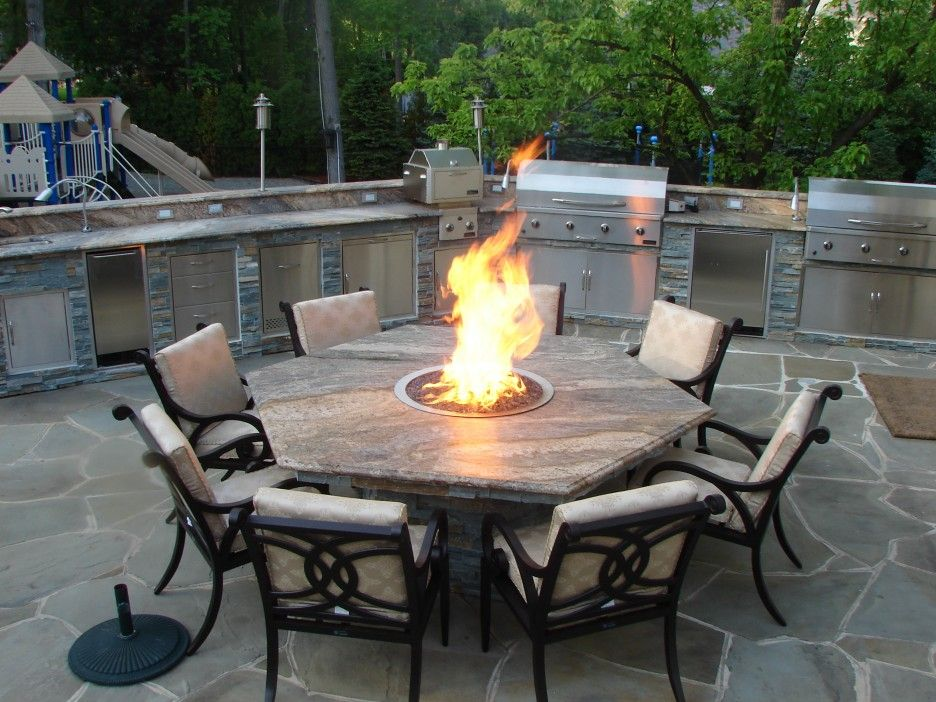 Hexagon Coffee Fire Table Comes With Gathering Outdoor Table Set And Rounded Fire Pit Fire Pit Table Fire Pit Sets Fire Pit Furniture