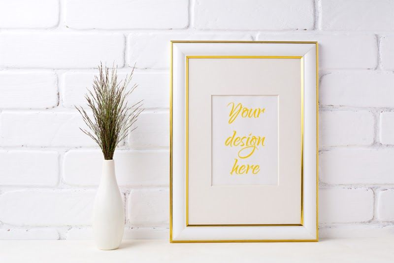 Download Gold Decorated Frame Mockup With Dark Grass In Vase Near Brick Wall Psd Mockup Frame Mockups Design Mockup Free Mockup Free Psd