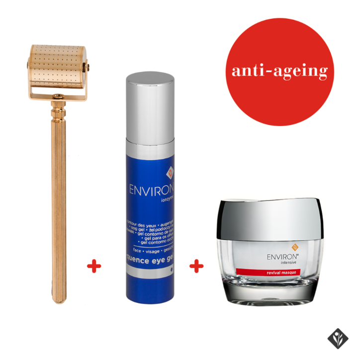 Environ gold roller to help product penetration +C-Quence Vitamin A-filled Eye Gel +gentle and exfoliating Revival Masque= a serious anti-aging solution. the only thing missing is the daily Vitamin A moisturizer! I would suggest the C-Quence Gel 1 to add to this lineup.