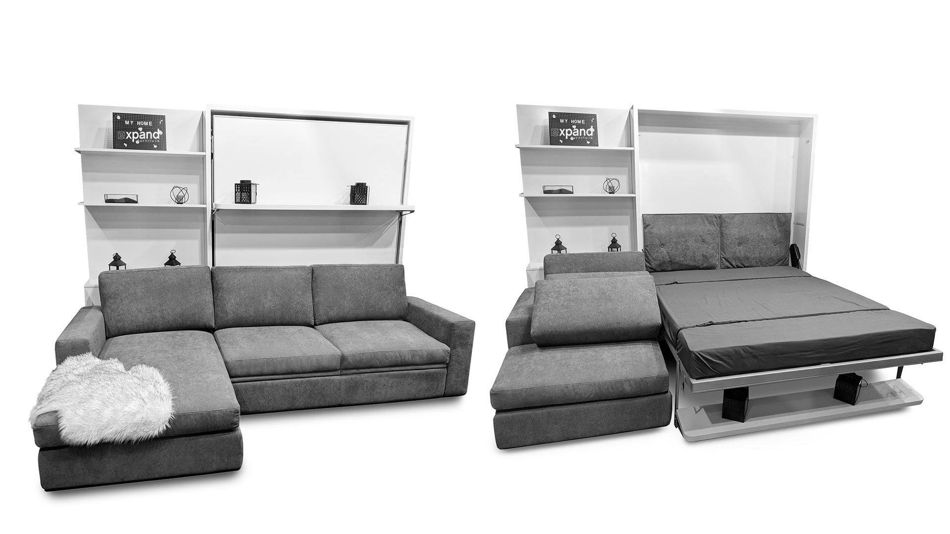 Compatto Shelf Wall Bed over Sectional Sofa в 2020 г Диван