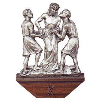 Vía Crucis latón plateado 15 estaciones capitel madera 30x50 cm
