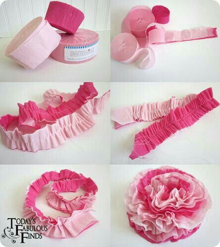 Pin by on pinterest 3d paper diy crepe paper flowers using party streamers mightylinksfo
