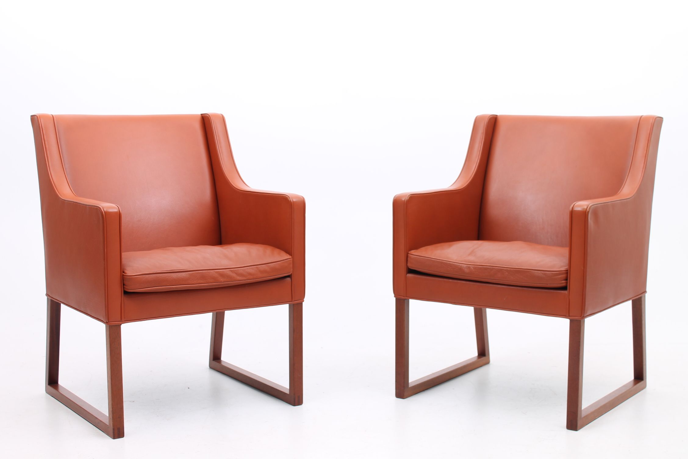 Pair Of Small Easy Chairs In Original Leather And Mahogany Legs. Model 3246    Designed By Børge Mogensen And Manufatured By Fredericia Stolefabrik, ...
