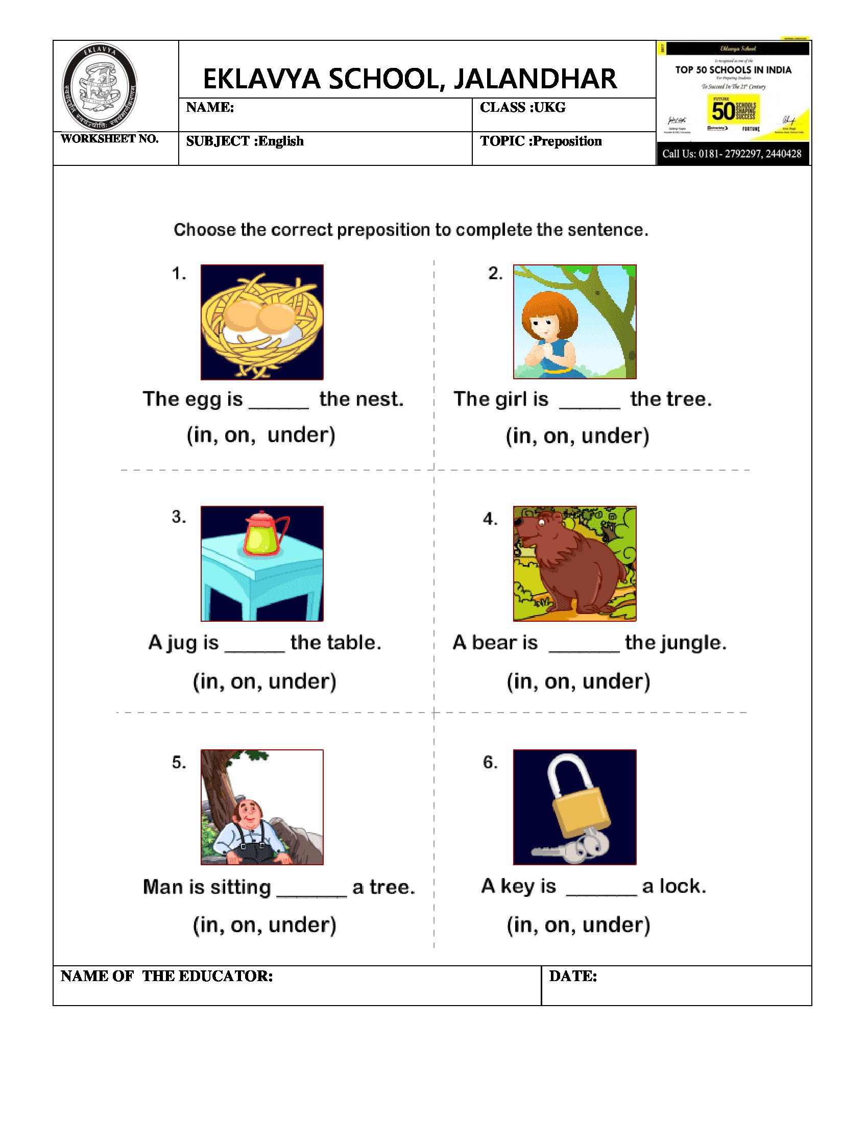 Worksheet on Preposition Prepositions, Preposition