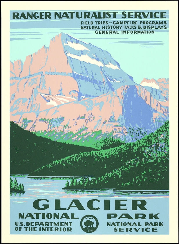 Vintage National Park Posters Part - 46: Glacier National Park Vintage Poster (Ranger Naturalist Service Series) In  The Discover Your Northwest Online Store