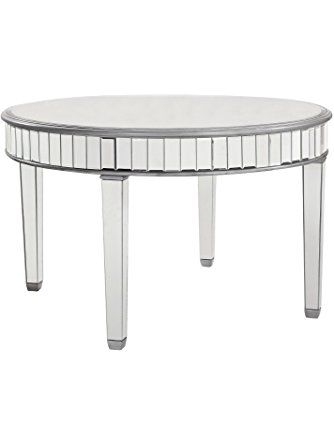 Beveled Mirrored Round Dining Table In Silver 48 In. X 30 In. ❤ .