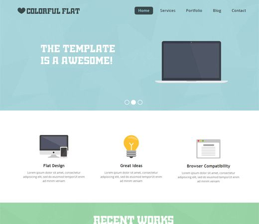 Colorful Flat Free #Responsive #HTML5 #CSS3 #Mobileweb Template ...