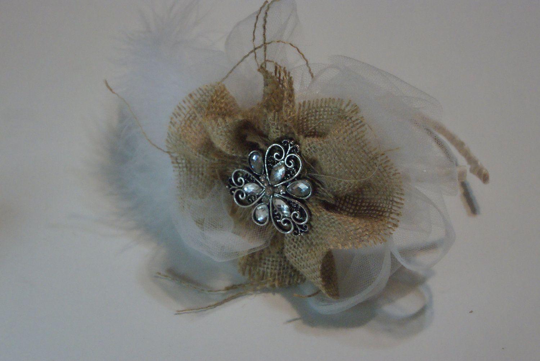Rustic Wedding Hairwear... Barn Style Weddings... Bridal Headpiece... for your hair... photo op.... $36.99, via Etsy.