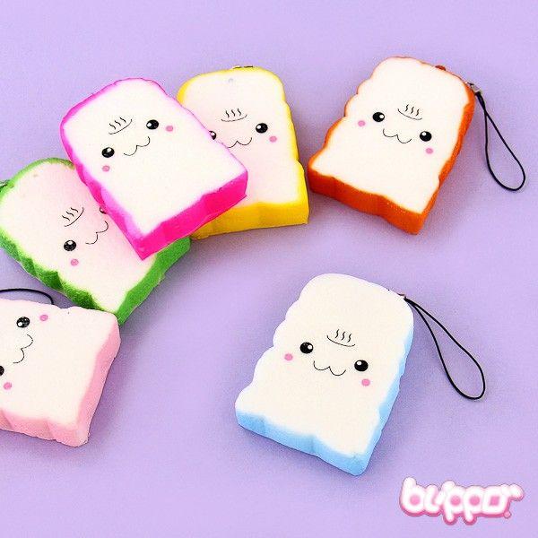 Diy Squishy Things : Colorful Toast Squishy Charm Kawaii Mobile Pinterest Squishies, Kawaii and Kawaii stuff