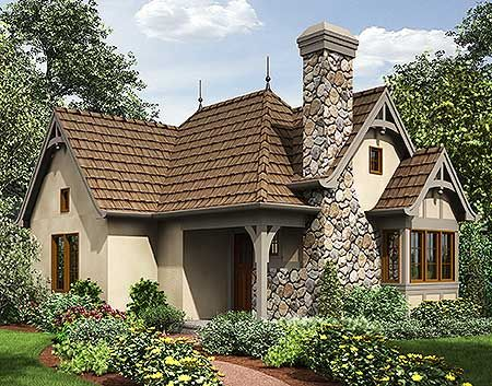 Plan 69590am One Bed Tiny House Plan Small Cottage Homes Tiny Cottage Cottage House Exterior