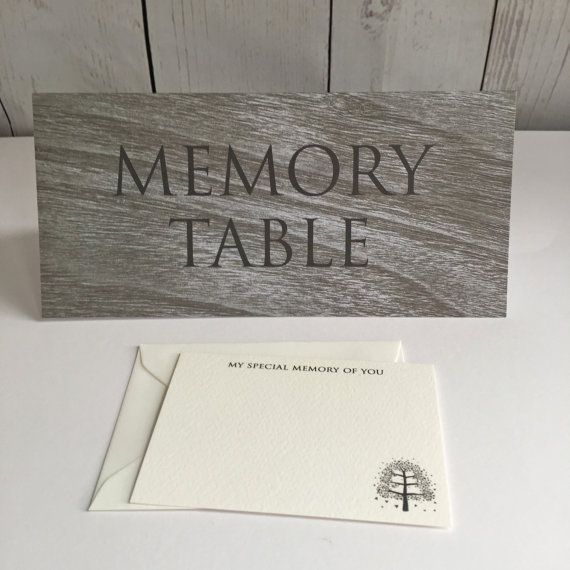 MEMORY TABLE TENT CARD ** A tent card featuring the words MEMORY - funeral words for cards