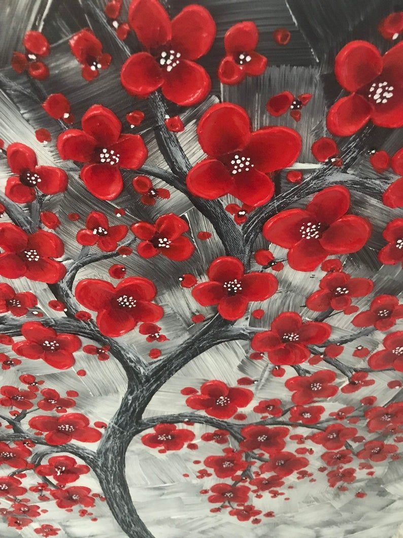 One Of A Kind Red Cherry Blossom Tree Painting For The Office Etsy Abstract Tree Painting Red Cherry Blossom Cherry Blossom Tree