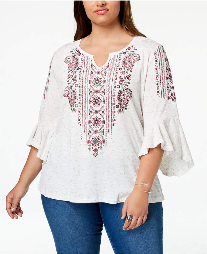9df277cf26f890 Style&Co. Style & Co Plus Size Embroidered Angel-Sleeve Top, Created for  Macy's