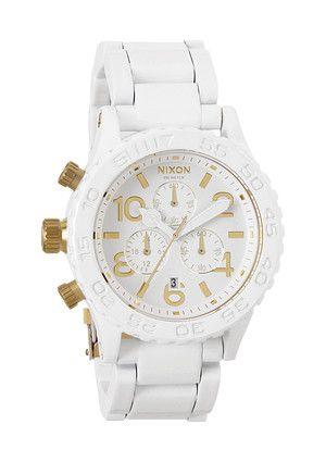 The 42-20 Chrono - All White / Gold | Nixon $600.00