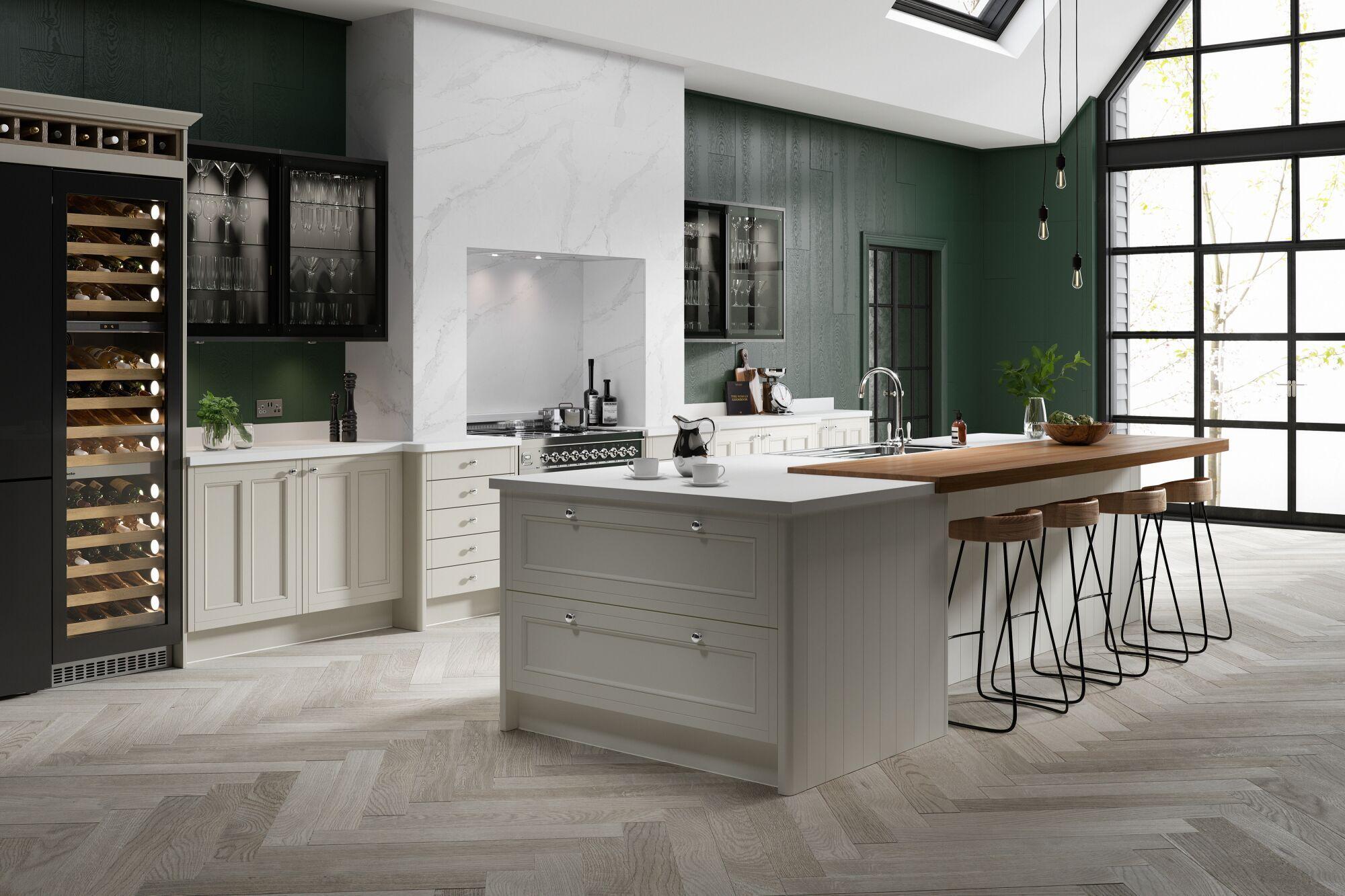 Country Kitchen in Winter White & Nimbus Wren Kitchens