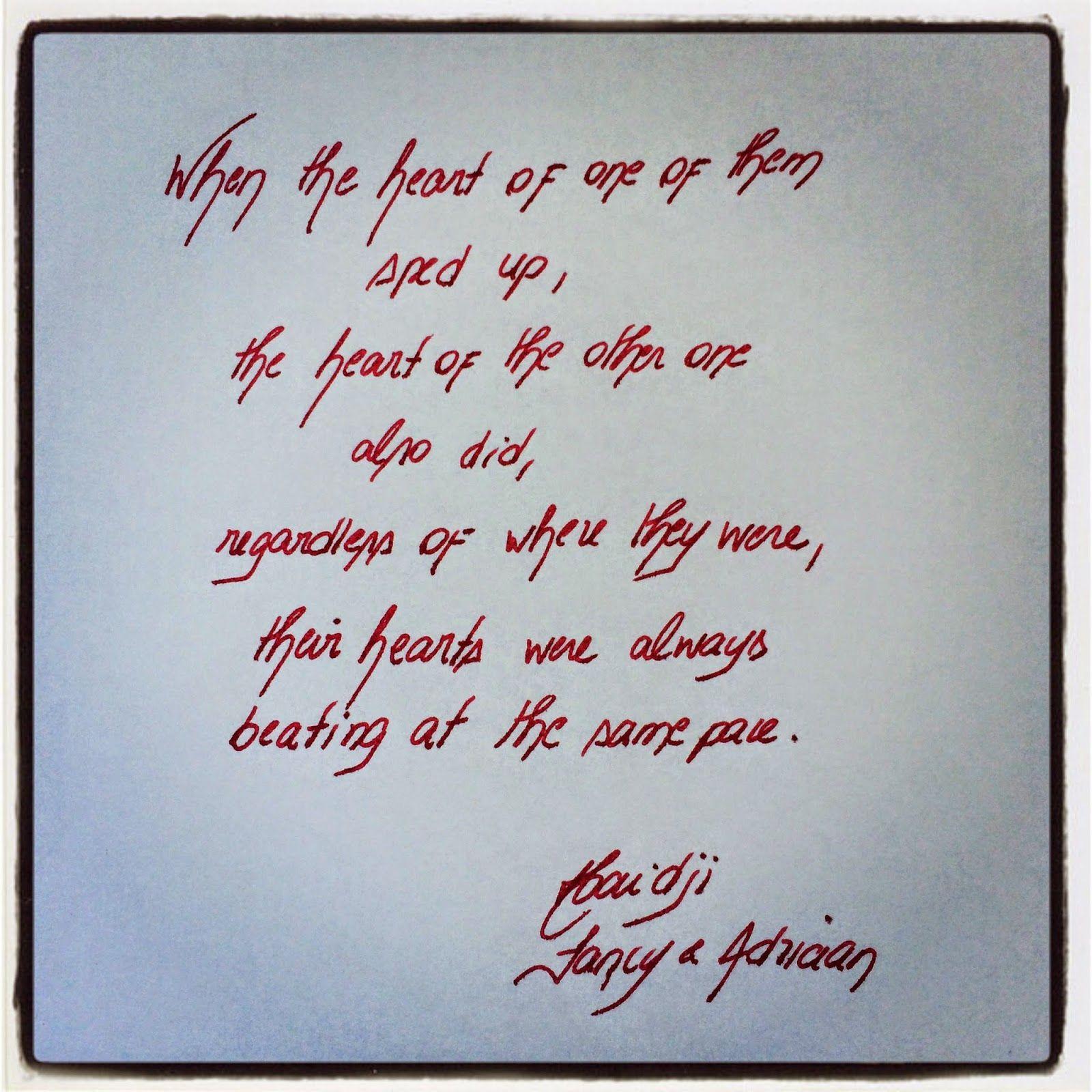 Haidji: Fancy & Adriaan - Haidji - Book Quote - Heartbeat