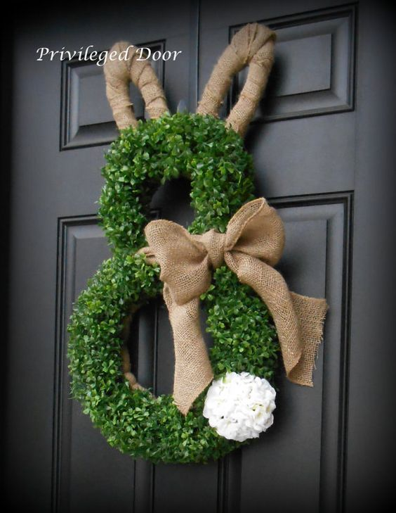 Photo of Easter wreath. Spring wreath. Easter bunny wreath. Faux Boxwood Bunny Wreath #wo …