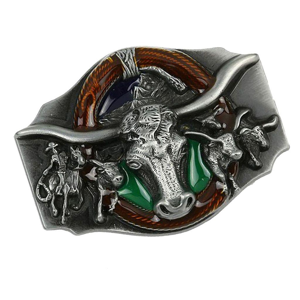 Vintage Bull Head Pattern Rodeo Belt Buckle Head Mens