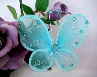 """Items similar to 2 Nylon Butterflies White, Pink, Green, Royal Blue, Purple, Silver for Wedding Decor,  Party Favors,  6"""" x 4"""" on Etsy"""