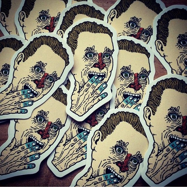 Fresh off the press new silkscreen stickers by johncaseyart