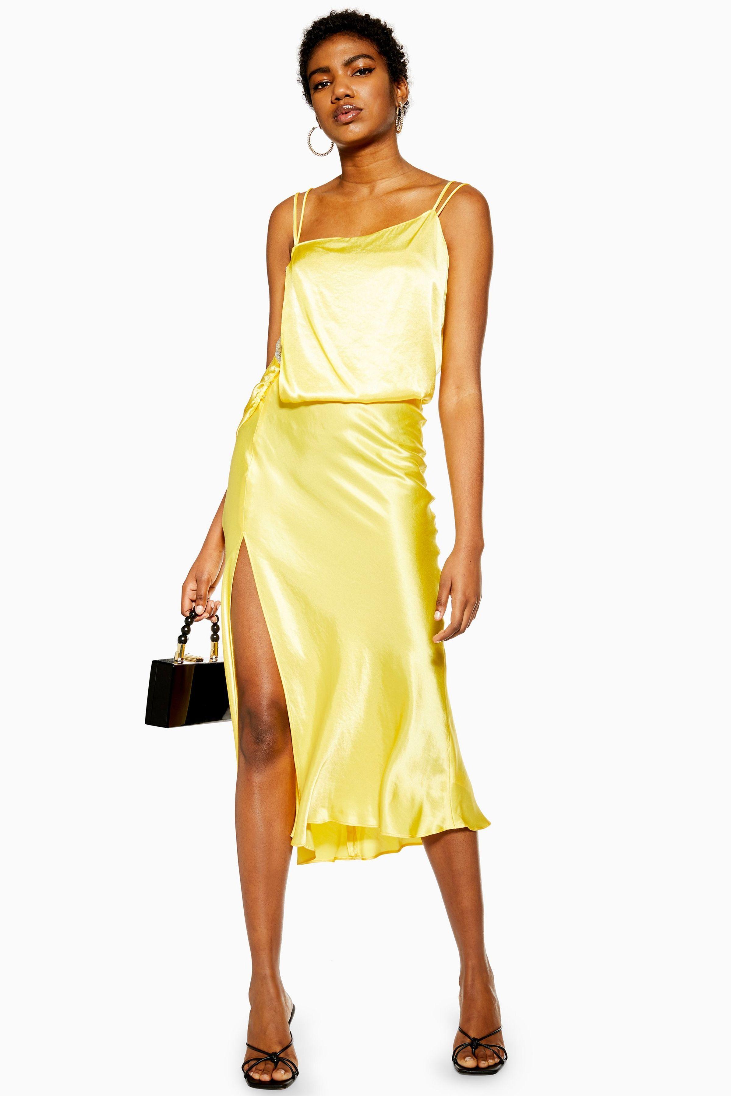 Photo of Yellow Embroidered Panel Satin Slip Dress
