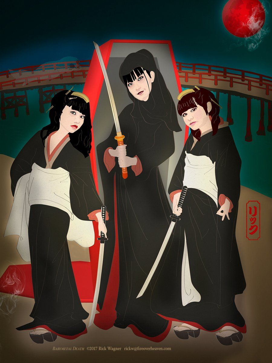 Yuimetal, Sumetal and Moametal with katanas in front of