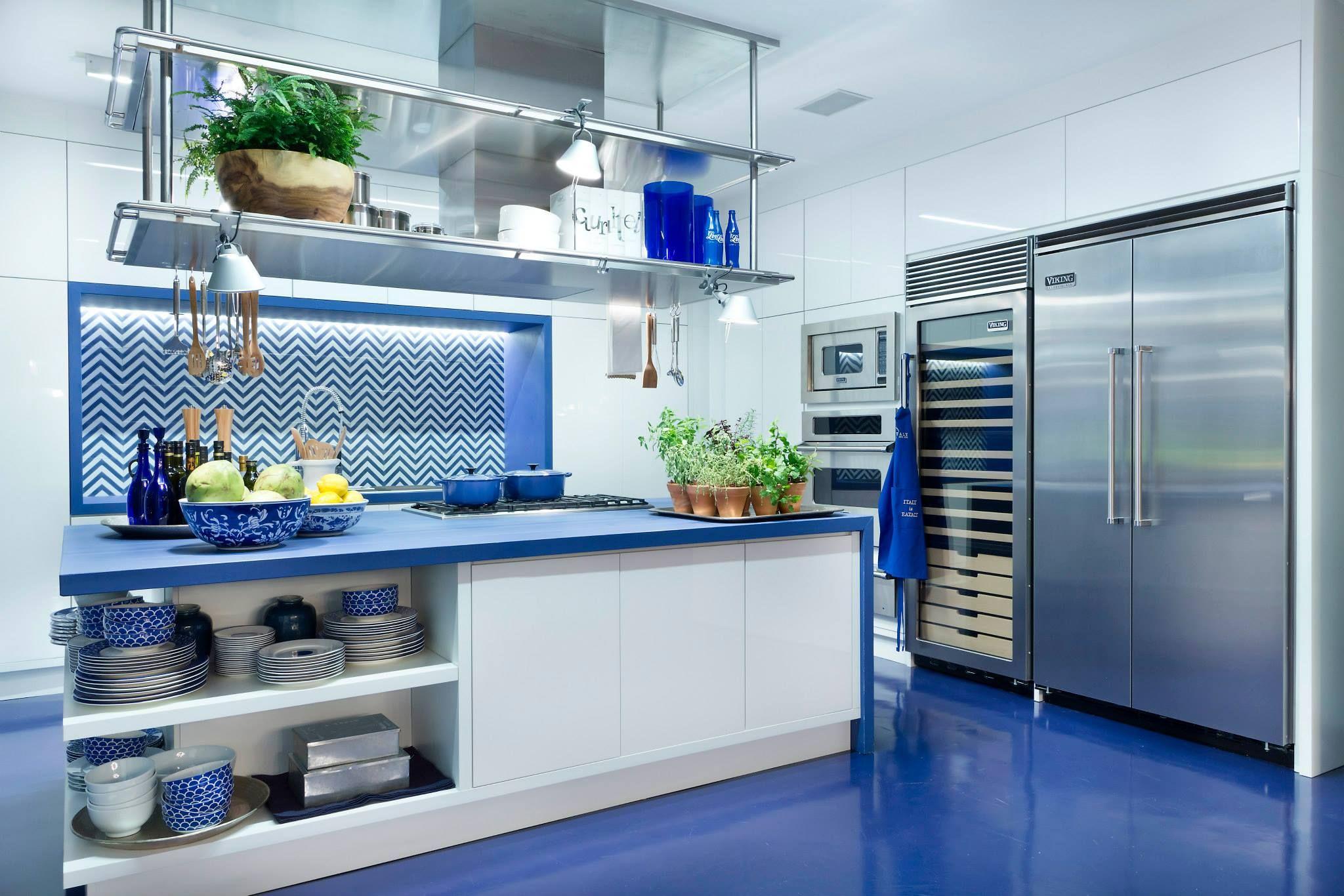 Cozinha Azul Piso Acrilato Resina Com Bancada Pia Azul Http