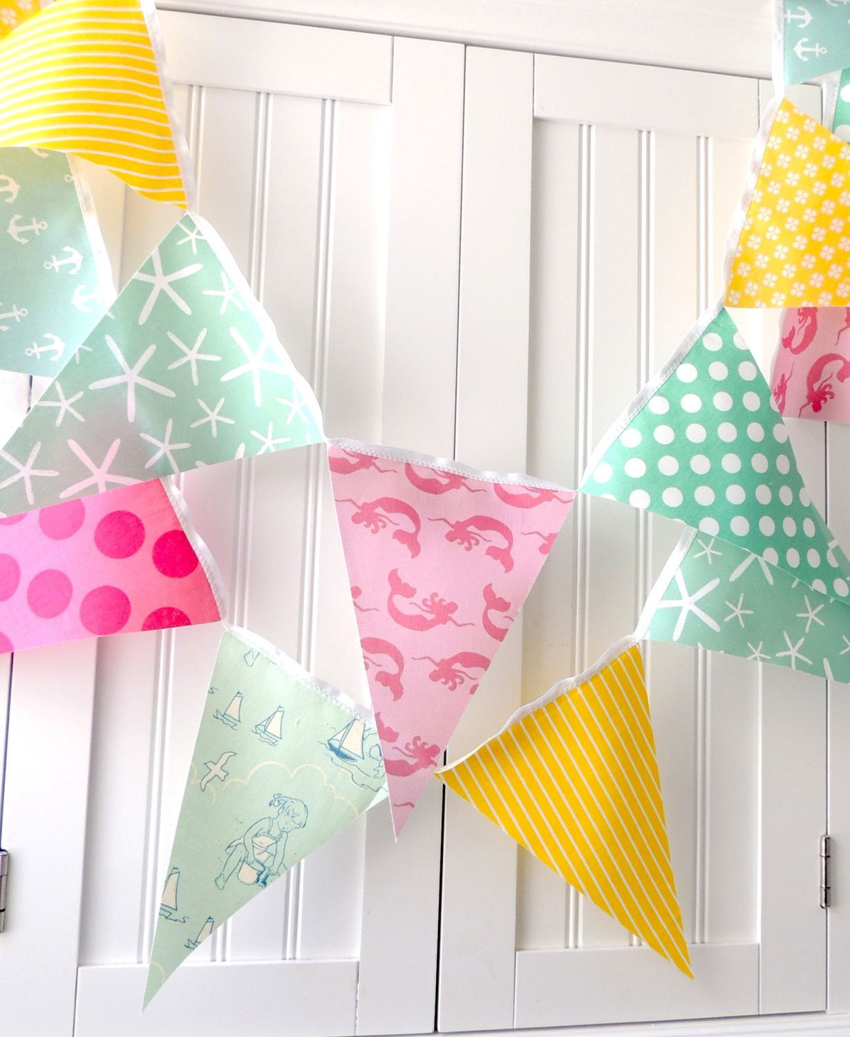 Nautical mermaid bunting banner fabric pennant flags birthday