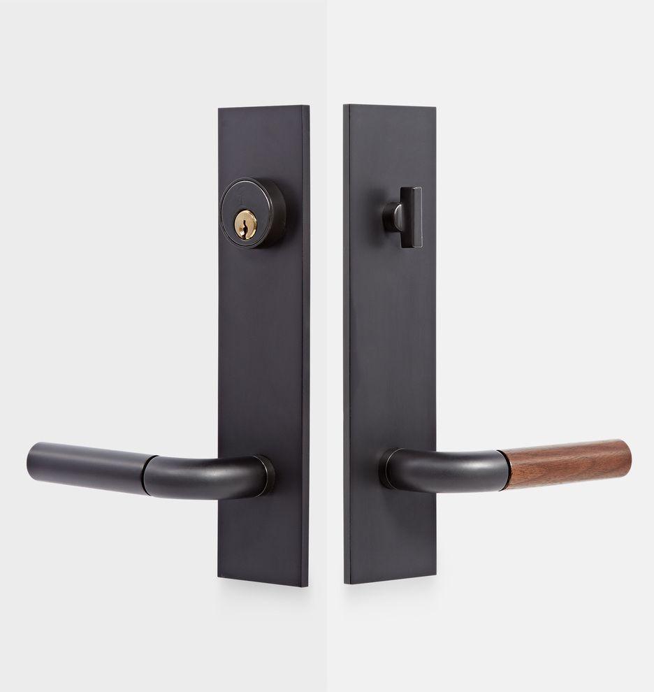 Tumalo Walnut Lever Exterior Door Hardware Tube Latch Set