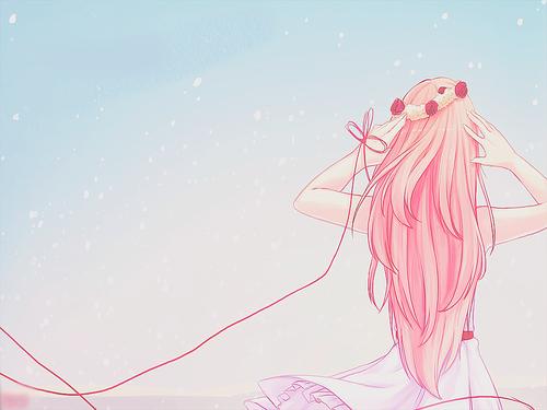 sad anime girl with pink hair