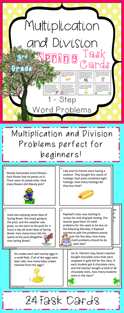 The Concept Of Multiplication And Division Is Very Important In 3rd Grade Use This Reso Division Task Cards Division Word Problems Multiplication And Division