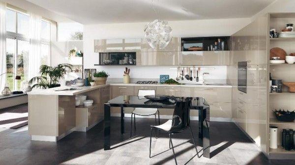 Küche Scavolini kleine räume beige hochglanz u-form essbereich - küchen für kleine räume