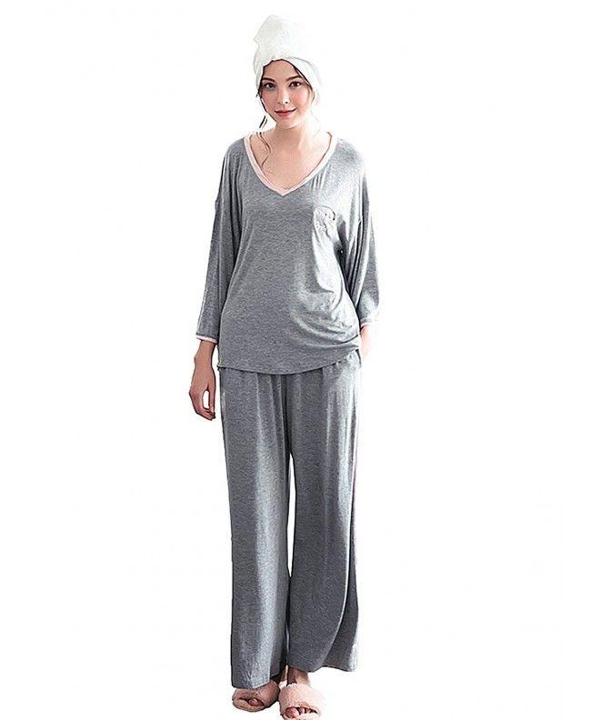 6538600f04 Women V Neck 3 4 Sleeve Pajamas Set Cozy 2 Piece Sleepwear - Light Gray -  CA188QWQLEY