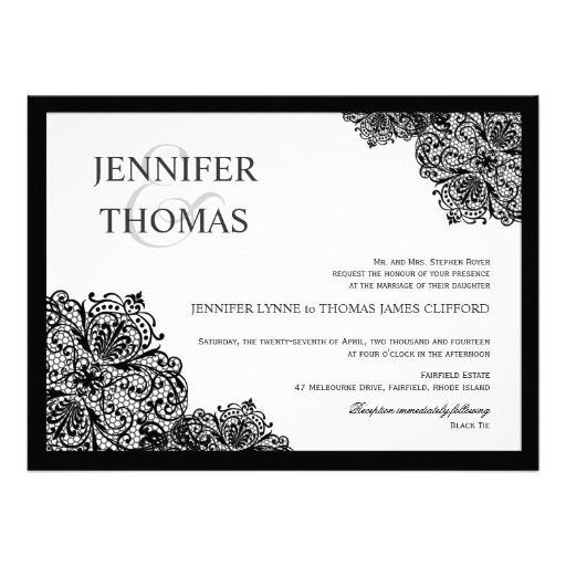 Love this black and white lace wedding invitation