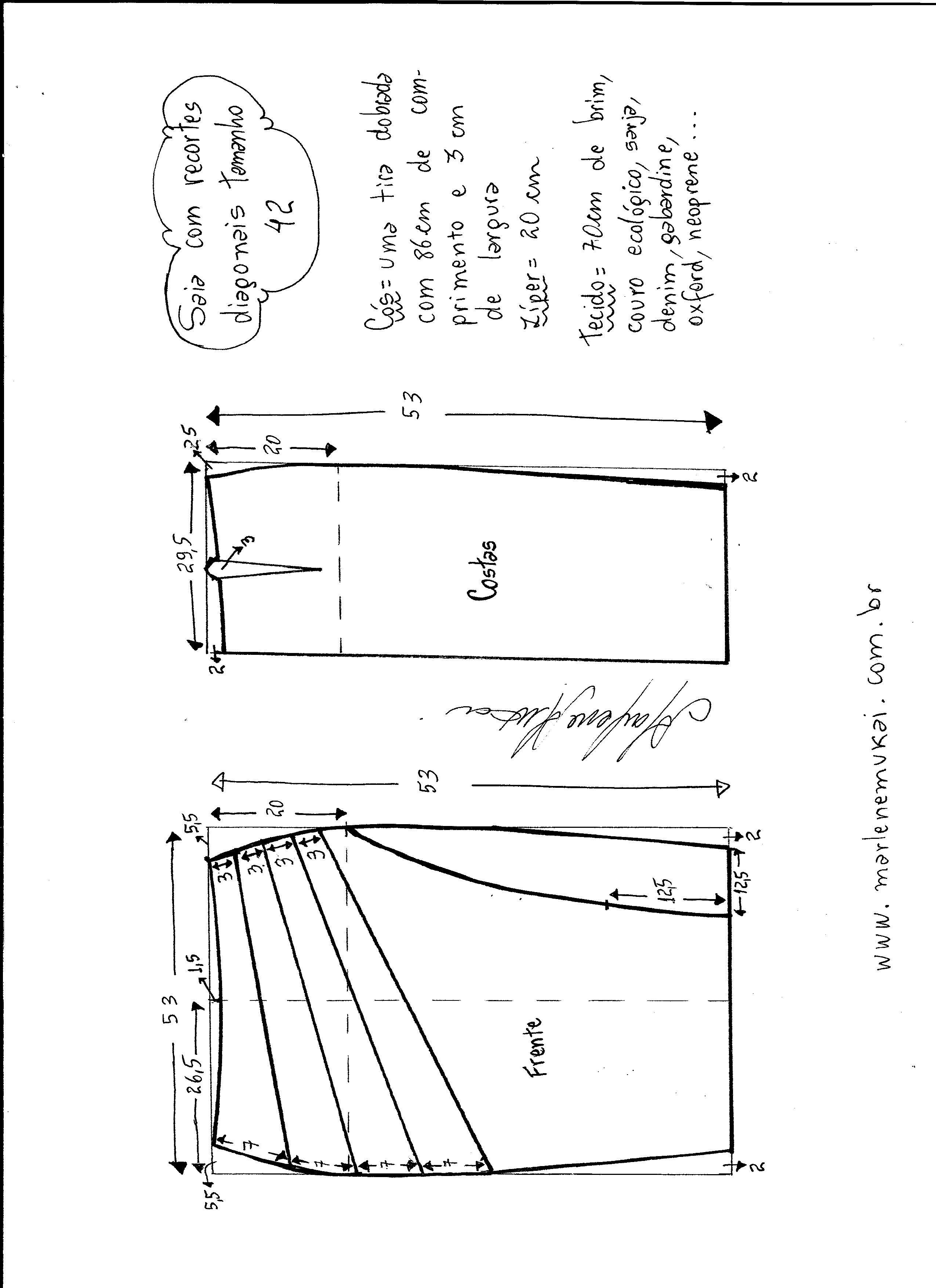 Saia com recorte diagonal | Molde, Costura y Patrones de costura