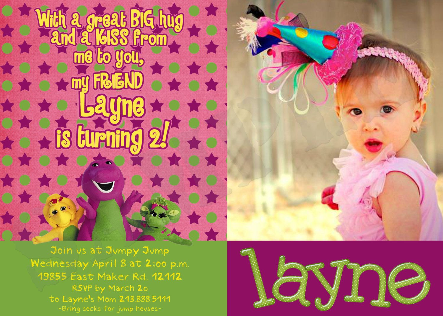 Barney Party Invitations - Print at Home - DIY by PrintedByMom on ...