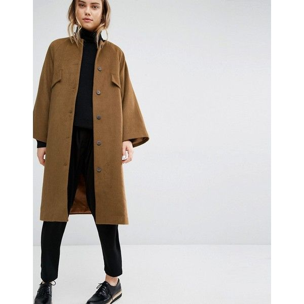 Paisie Oversized Collarless Coat (€240) ❤ liked on Polyvore featuring outerwear, coats, brown, brown coat, oversized coat, tall coats, collarless coat and fur-lined coats