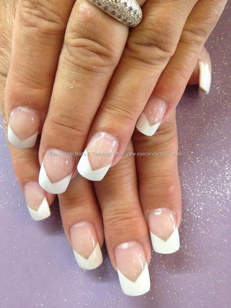 White v french tips over acrylic overlays nails pinterest beauty nails prinsesfo Choice Image