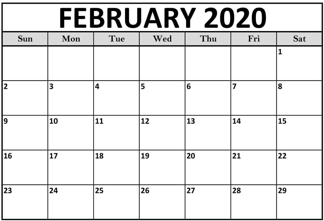 Editable Feb 2020 Calendar Pdf Word Excel Printable Template With