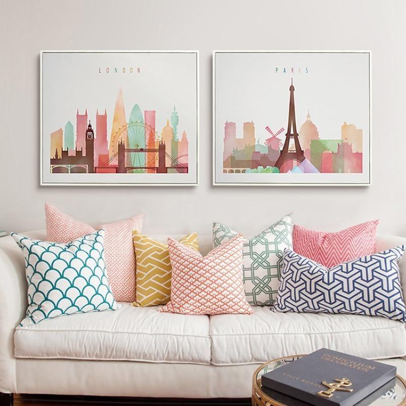 Paris New York London Canvas Print Colourful Living Room Decor Picture Room Decor Living Room Decor Colors