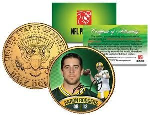 Green and Gold Money | AARON-RODGERS-Green-Bay-Packers-24K-GOLD-JFK-KENNEDY-HALF-DOLLAR-COIN ...