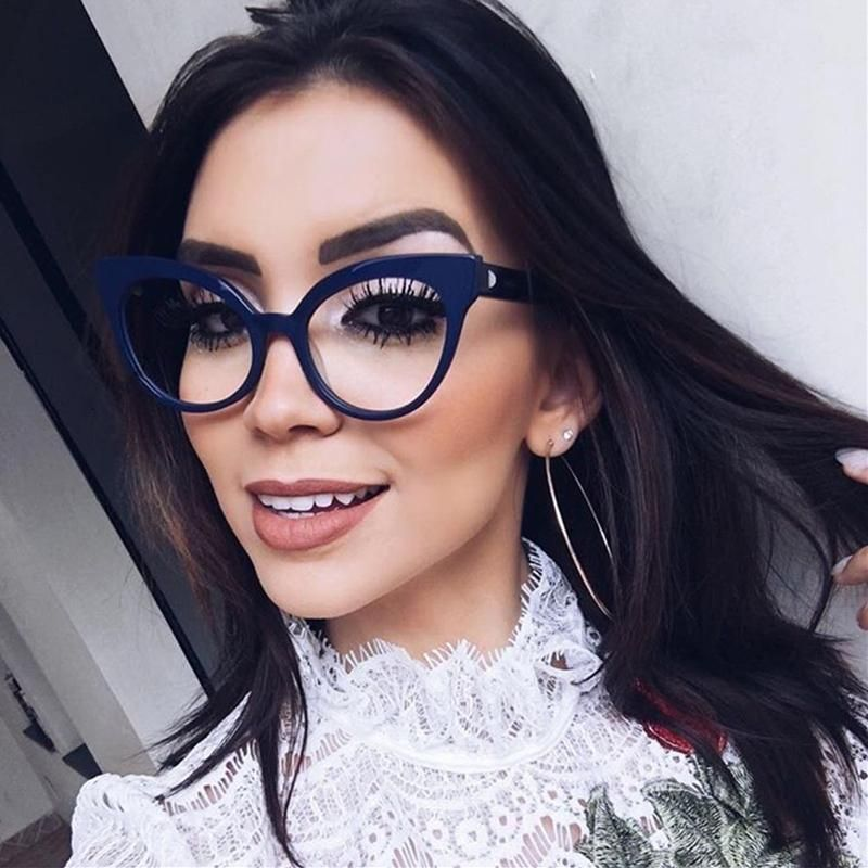 d5d9a85a11 Kottdo Fashion Brand Cat Eye Glasses Women Plain Clear Lens Eyeglasses  Retro Eyewear High Quality Vintage