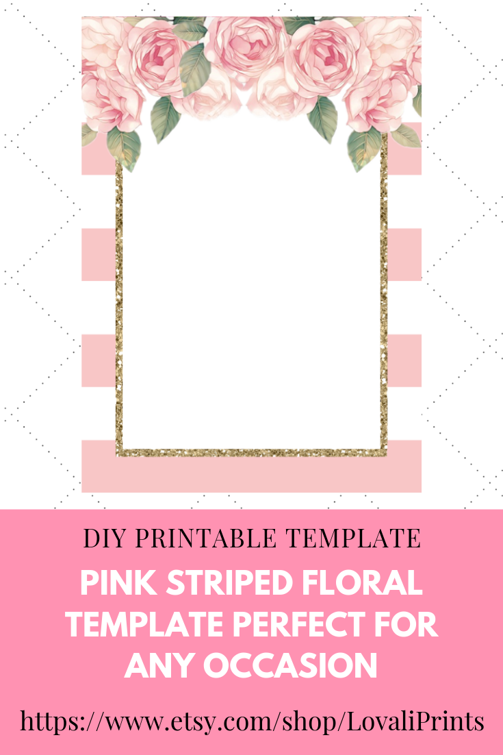 Diy Pink Printable Striped Floral Blank Invitation Template Bridal Shower Invitations Templates Pink And Gold Invitations Sunflower Wedding Invitations