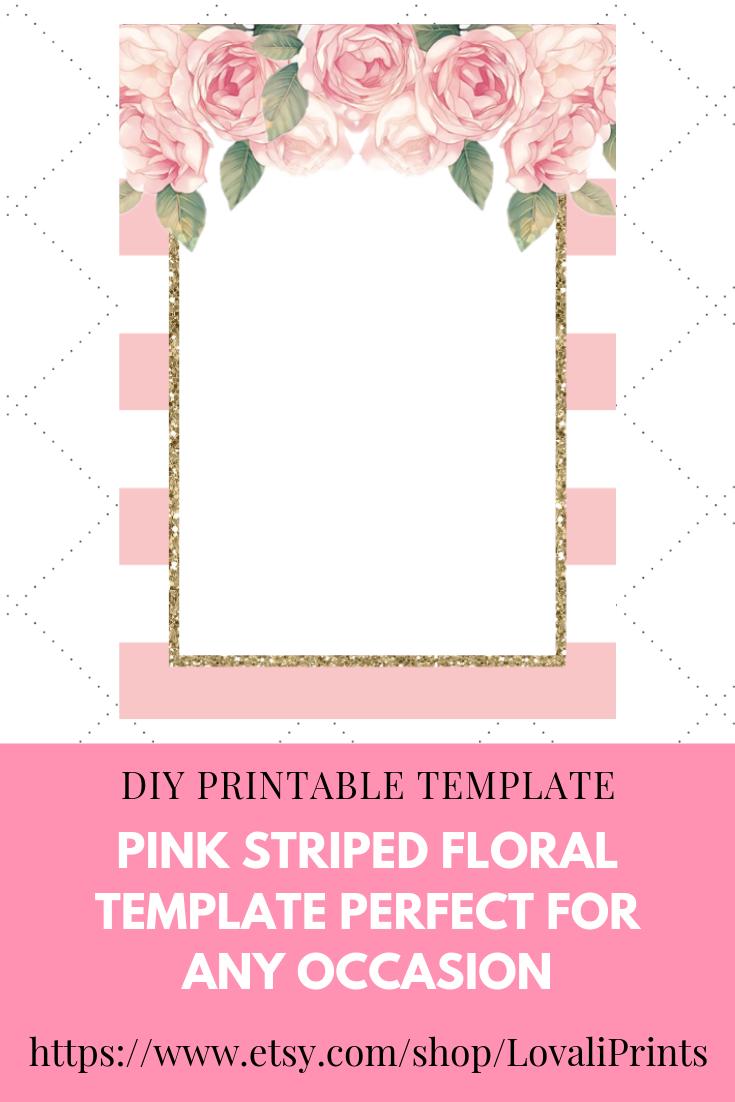diy pink printable striped floral blank