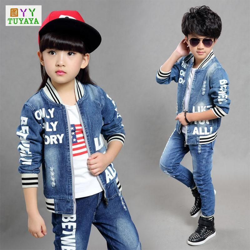 29e1b6891 Girls Clothes Set 2018 Spring Kids Clothes Letter Boys Jeans Sets ...