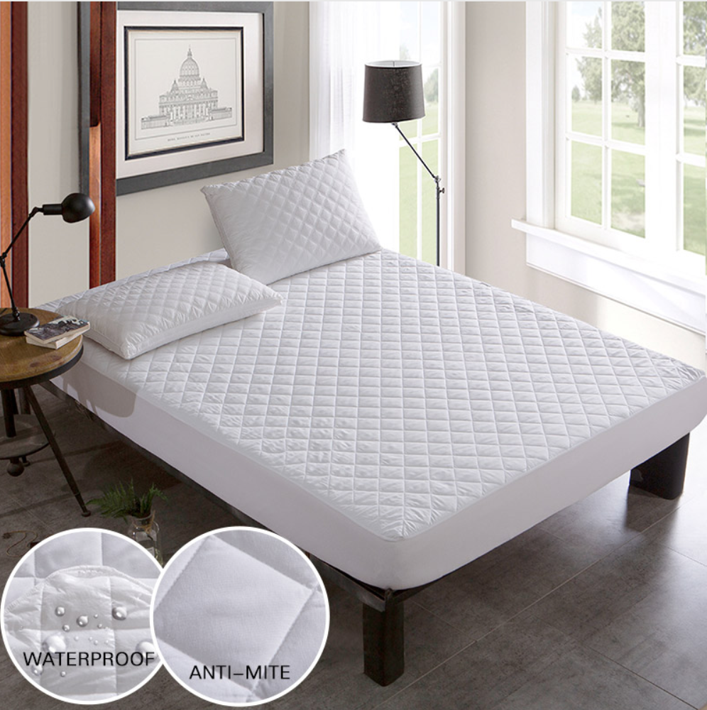 Eluxliving Brushed Fabric Quilted Bed Waterproof Cover Waterproof Knitting Mattress Protector Cover Mattress Protector Waterproof Mattress Cover Soft Mattress