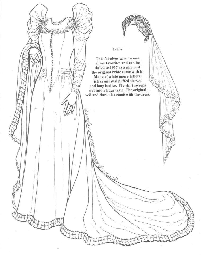 Wedding Gown 9 Paper Dolls Clothing Paper Dolls Vintage Paper Dolls