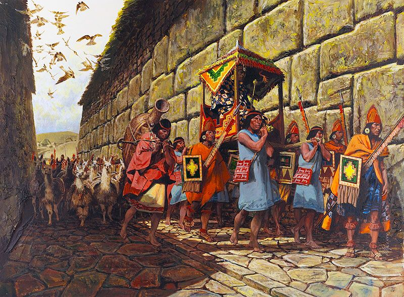"""""""On July 3, 1535, Paullu, the Inca Manco's brother and head of the Indian contingent to accompany the Almagro Expedition to Chile, is carried to Cuzco's central square to join Captain Almagro"""", Louis S. Glanzman"""