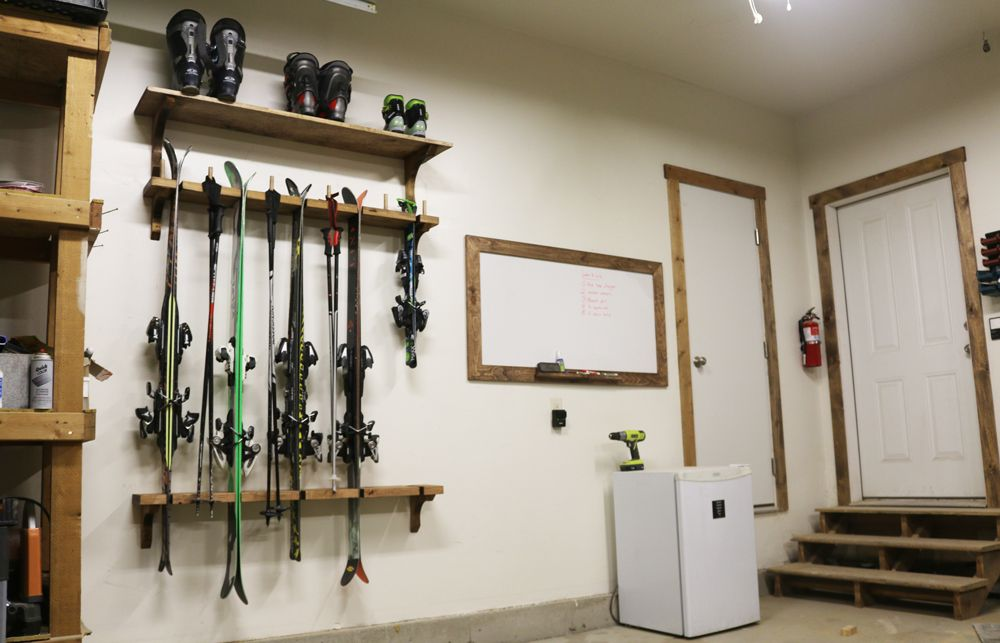 Learn how to build a wood DIY Ski Rack with free plans project photos and a detailed tutorial. A great way to organize skis and boots in any garage! & DIY Ski Rack | Pinterest | Organizing Woods and Storage