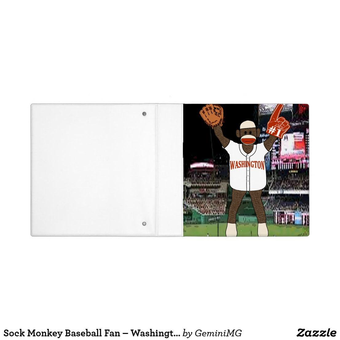 Sock Monkey Baseball Fan – Washington 3 Ring Binder | Zazzle.com #sockmoneky